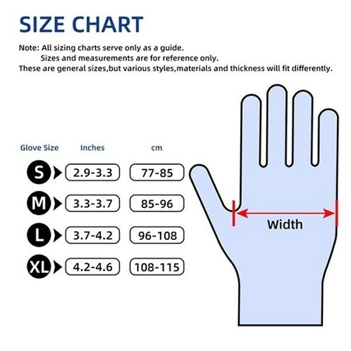 examination gloves size chart